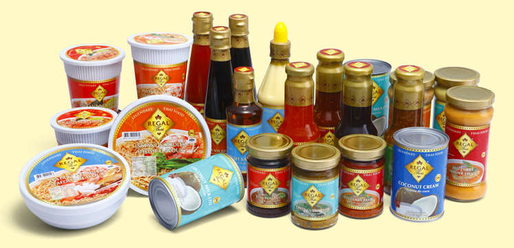Range of Regal Thai Processed Food Products: Sauces, pastes, curries